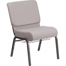 HERCULES Series 21''W Church Chair in Gray Dot Fabric with Book Rack - Silver Vein Frame [FD-CH0221-4-SV-GYDOT-BAS-GG]