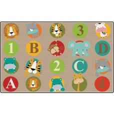 Abc And 123 Animals (Light) (Seats 30) 10'9 X 13'2 Rectangle Carpet