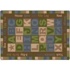 """Abc Words ( Tranquility) 10'9"""" X 13'2"""" Rectangle Carpet"""