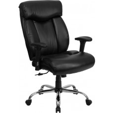 HERCULES Series Big & Tall 400 lb. Rated Black Leather Executive Swivel Chair with Adjustable Arms [GO-1235-BK-LEA-A-GG]