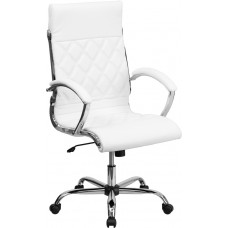 High Back Designer White Leather Executive Swivel Chair with Chrome Base and Arms [GO-1297H-HIGH-WHITE-GG]