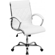 Mid-Back Designer White Leather Executive Swivel Chair with Chrome Base and Arms [GO-1297M-MID-WHITE-GG]