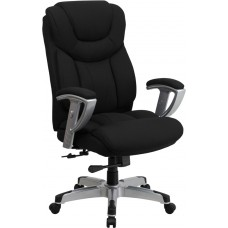 HERCULES Series Big & Tall 400 lb. Rated Black Fabric Executive Swivel Chair with Adjustable Arms [GO-1534-BK-FAB-GG]