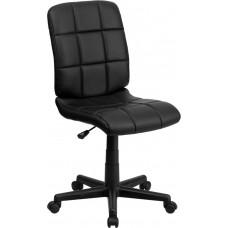 Mid-Back Black Quilted Vinyl Swivel Task Chair [GO-1691-1-BK-GG]