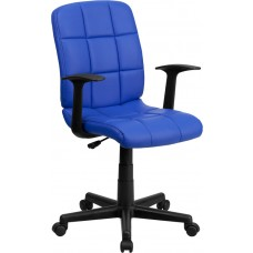 Mid-Back Blue Quilted Vinyl Swivel Task Chair with Arms [GO-1691-1-BLUE-A-GG]