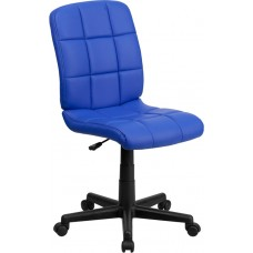 Mid-Back Blue Quilted Vinyl Swivel Task Chair [GO-1691-1-BLUE-GG]