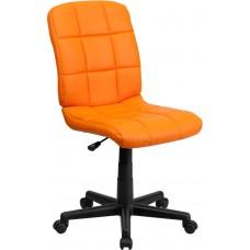 Mid-Back Orange Quilted Vinyl Swivel Task Chair [GO-1691-1-ORG-GG]