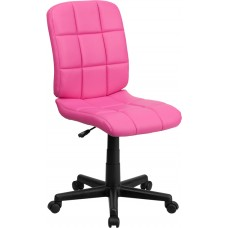 Mid-Back Pink Quilted Vinyl Swivel Task Chair [GO-1691-1-PINK-GG]