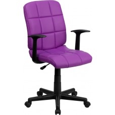 Mid-Back Purple Quilted Vinyl Swivel Task Chair with Arms [GO-1691-1-PUR-A-GG]