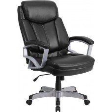 HERCULES Series Big & Tall 500 lb. Rated Black Leather Executive Swivel Chair with Arms [GO-1850-1-LEA-GG]