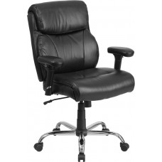 HERCULES Series Big & Tall 400 lb. Rated Black Leather Swivel Task Chair with Adjustable Arms [GO-2031-LEA-GG]