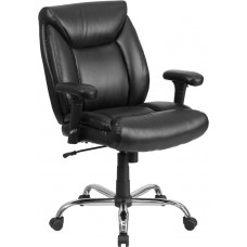 HERCULES Series Big & Tall 400 lb. Rated Black Leather Swivel Task Chair with Adjustable Arms [GO-2073-LEA-GG]