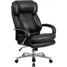 HERCULES Series 24/7 Intensive Use Big & Tall 500 lb. Rated Black Leather Executive Swivel Chair with Loop Arms [GO-2078-LEA-GG]