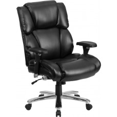 HERCULES Series 24/7 Intensive Use Big & Tall 400 lb. Rated Black Leather Executive Swivel Chair with Lumbar Knob [GO-2149-LEA-GG]