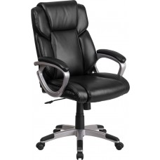Mid-Back Black Leather Executive Swivel Chair with Padded Arms [GO-2236M-BK-GG]