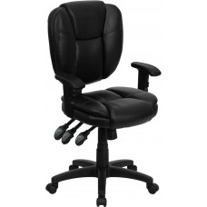 Mid-Back Black Leather Multifunction Ergonomic Swivel Task Chair with Adjustable Arms [GO-930F-BK-LEA-ARMS-GG]