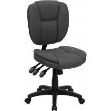 Mid-Back Gray Fabric Multifunction Ergonomic Swivel Task Chair [GO-930F-GY-GG]