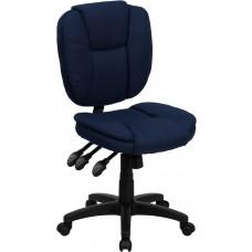 Mid-Back Navy Blue Fabric Multifunction Ergonomic Swivel Task Chair [GO-930F-NVY-GG]