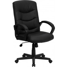 Mid-Back Black Leather Swivel Task Chair with Arms [GO-977-1-BK-LEA-GG]