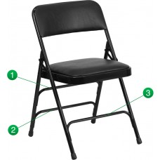 HERCULES Series Curved Triple Braced & Double Hinged Black Vinyl Fabric Metal Folding Chair [HA-MC309AV-BK-GG]