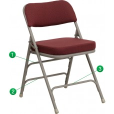 HERCULES Series Premium Curved Triple Braced & Double Hinged Burgundy Fabric Metal Folding Chair [HA-MC320AF-BG-GG]