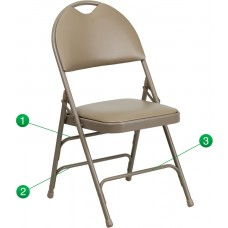 HERCULES Series Ultra-Premium Triple Braced Beige Vinyl Metal Folding Chair with Easy-Carry Handle [HA-MC705AV-3-BGE-GG]