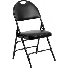 HERCULES Series Ultra-Premium Triple Braced Black Vinyl Metal Folding Chair with Easy-Carry Handle [HA-MC705AV-3-BK-GG]