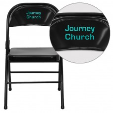 Personalized HERCULES Series Triple Braced & Double Hinged Black Metal Folding Chair [HF3-MC-309AS-BK-TXTEMB-VYL-GG]