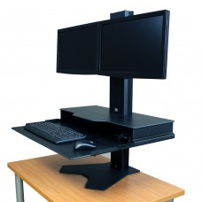 Hover Helium Sit Stand Desk Converter 24x28 - Dual Monitor