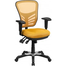 Mid-Back Yellow-Orange Mesh Multifunction Executive Swivel Chair with Adjustable Arms [HL-0001-YEL-GG]