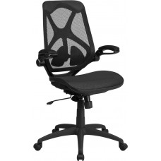 High Back Transparent Black Mesh Executive Swivel Chair with Adjustable Lumbar, 2-Paddle Control and Flip-Up Arms [HL-0013T-GG]