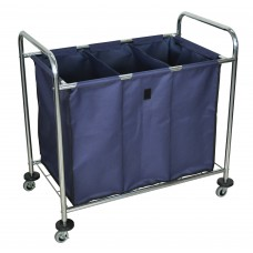 Luxor Industrial Laundry Cart W/ Steel Frame & Navy Canvas Bag W/ Dividers