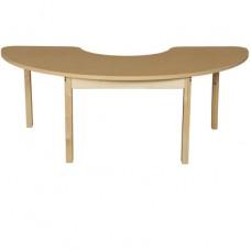 "24"" x 76"" Half Circle High Pressure Laminate Table with Hardwood Legs-29"""