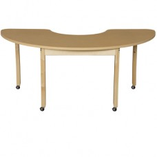 "Mobile 24"" x 76"" Half Circle High Pressure Laminate Table with Hardwood Legs-29"""