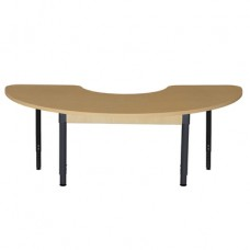 "24"" x 76"" Half Circle High Pressure Laminate Table with Adjustable Legs 18""-29"""
