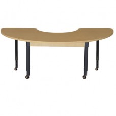 """Mobile 24"""" x 76"""" Half Circle High Pressure Laminate Table with Adjustable Legs 20-31"""""""