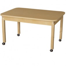 """Mobile 30"""" x 44"""" Rectangle High Pressure Laminate Table with Hardwood Legs- 22"""""""