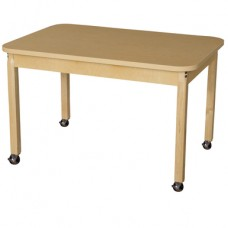"""Mobile 30"""" x 44"""" Rectangle High Pressure Laminate Table with Hardwood Legs-24"""""""