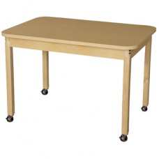 """Mobile 30"""" x 44"""" Rectangle High Pressure Laminate Table with Hardwood Legs-26"""""""