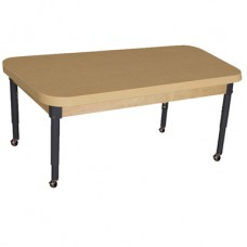 """Mobile 30"""" x 44"""" Rectangle High Pressure Laminate Table with Adjustable Legs 14-19"""""""
