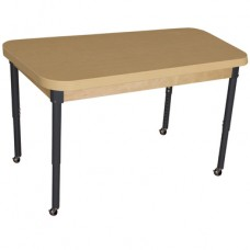 """Mobile 30"""" x 44"""" Rectangle High Pressure Laminate Table with Adjustable Legs 20-31"""""""