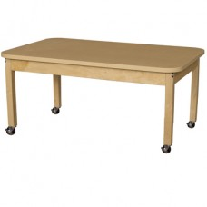 """Mobile 30"""" x 48"""" Rectangle High Pressure Laminate Table with Hardwood Legs-18"""""""