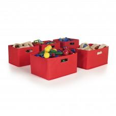 Red Storage Bins - Set of 5