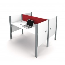 Pro-Biz Double face to face workstation in White with Red Tack Boards