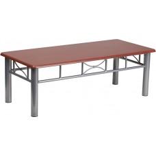 Mahogany Laminate Coffee Table with Silver Steel Frame [JB-5-COF-MAH-GG]