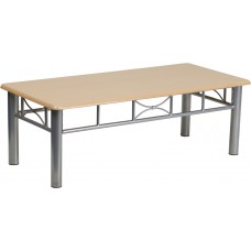 Natural Laminate Coffee Table with Silver Steel Frame [JB-6-COF-NAT-GG]