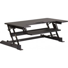 HERCULES Series 36.25''W Black Sit / Stand Height Adjustable Desk with Height Lock Feature and Keyboard Tray [JE-JN-LD02-A1-B-GG]