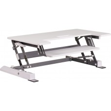 HERCULES Series 36.25''W White Sit / Stand Height Adjustable Desk with Height Lock Feature and Keyboard Tray [JE-JN-LD02-A1-W-GG]