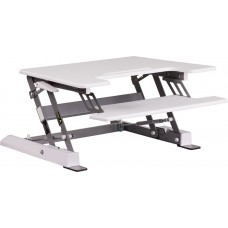 HERCULES Series 28.25''W White Sit / Stand Height Adjustable Desk with Height Lock Feature and Keyboard Tray [JE-JN-LD02-S-W-GG]