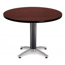 "OFM Round Multi-Purpose Mesh Base Table, 42"", Mahogany"